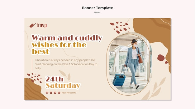Horizontal banner template for holiday travel with person wearing medical mask