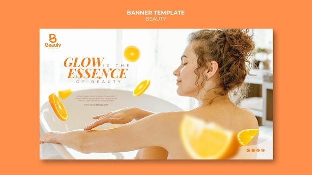 Horizontal banner template for home spa skincare with woman and orange slices