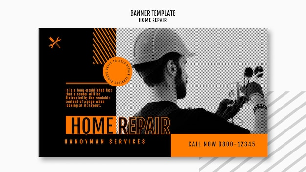 Horizontal banner template for house repair company