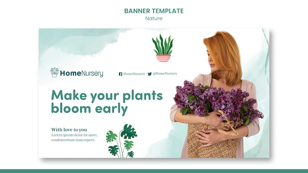Horizontal banner template for houseplants care with woman