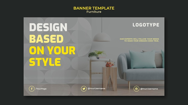 Horizontal banner template for interior design company