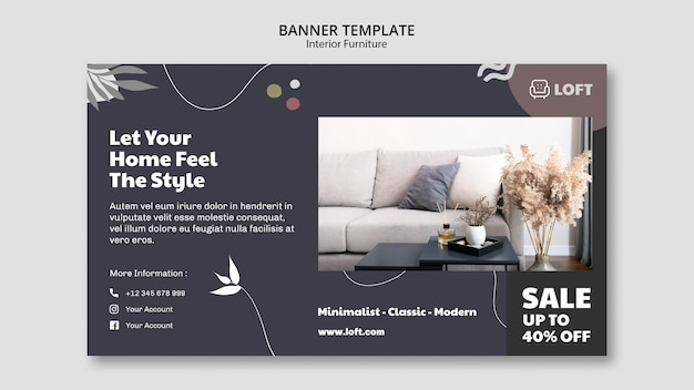 Horizontal banner template for interior design furniture