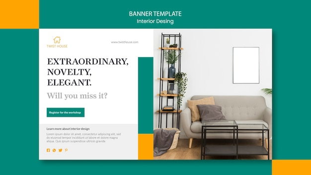 Horizontal banner template for interior design