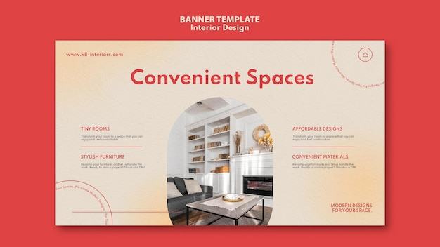 Modello di banner orizzontale per l'interior design