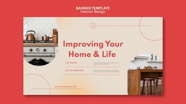 Horizontal banner template for interior design