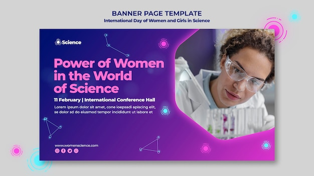 Horizontal banner template for internation day of women and girls in science celebration with female scientist