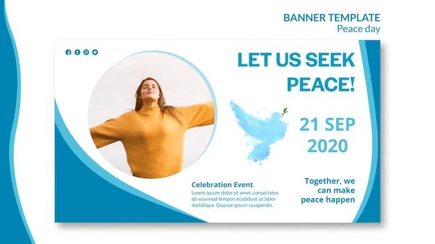 Modello di banner orizzontale per la giornata internazionale della pace