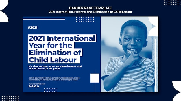 Modello di banner orizzontale per l'anno internazionale per l'eliminazione del lavoro minorile