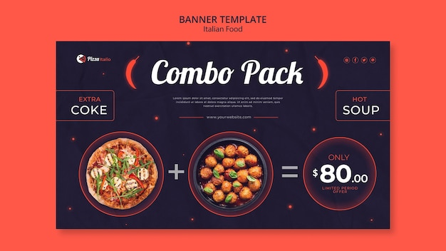 Horizontal banner template for italian food restaurant