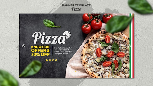 Horizontal banner template for italian pizza restaurant