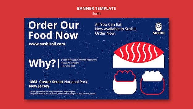 Horizontal banner template for japanese food festival with sushi