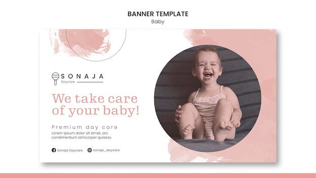 Horizontal banner template for kids daycare