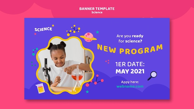 Horizontal banner template for kids science