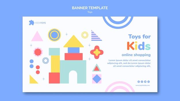 Modello di banner orizzontale per lo shopping online di giocattoli per bambini