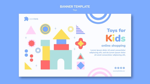 Horizontal banner template for kids toys online shopping