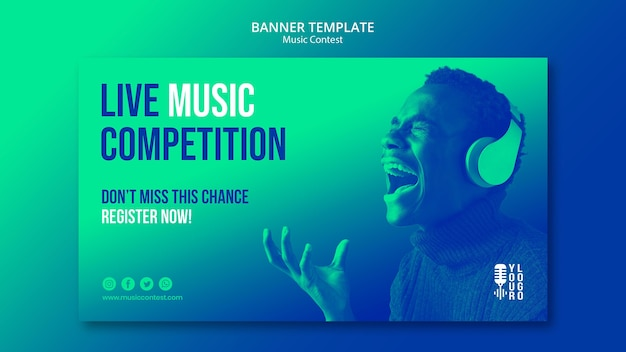 Horizontal banner template for live music contest with performer