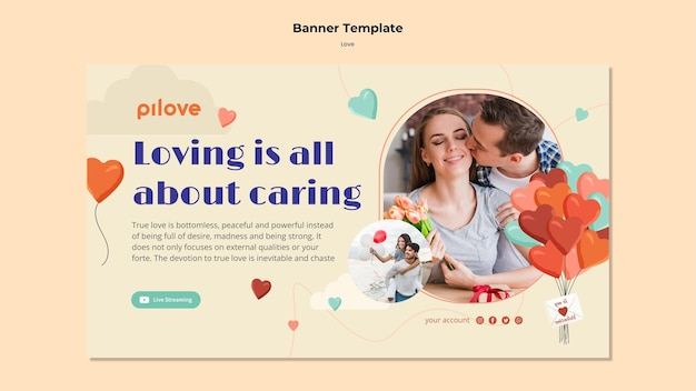 Horizontal banner template for love with romantic couple and hearts