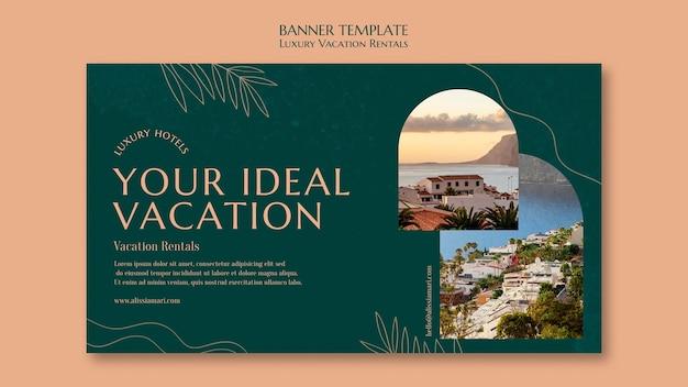 Modello di banner orizzontale per affitti vacanze di lusso