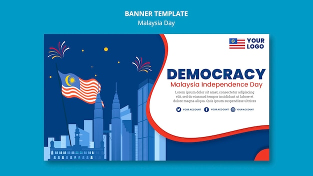 Horizontal banner template for malaysia day anniversary celebration