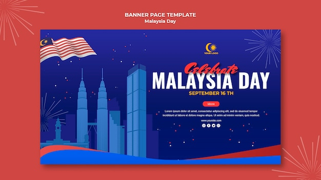 Modello di banner orizzontale per la celebrazione del giorno della malesia