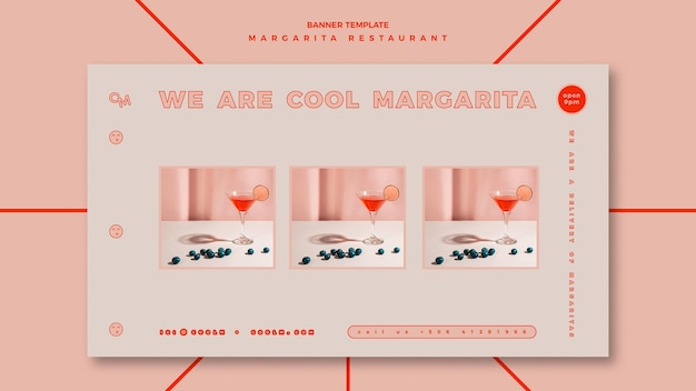 Horizontal banner template for margarita cocktail drink