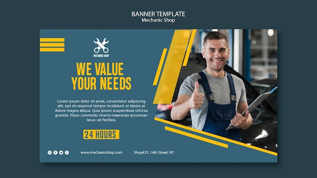 Horizontal banner template for mechanic profession