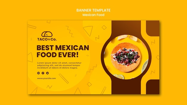 Horizontal banner template for mexican food restaurant