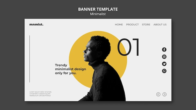 Horizontal banner template in minimal style for art gallery with man