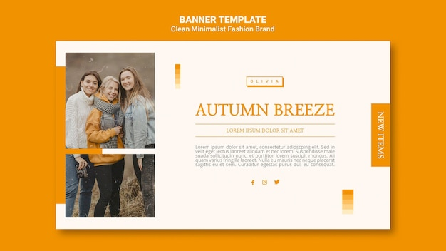 Horizontal banner template for minimalist autumn fashion brand