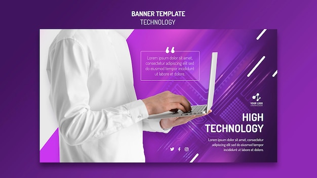 Horizontal banner template for modern technology with laptop