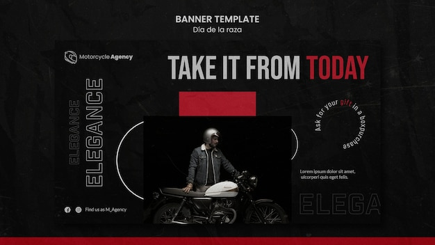 Horizontal banner template for motorcycle agency with male rider