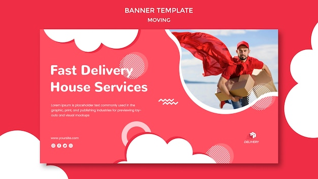 Horizontal banner template for moving company