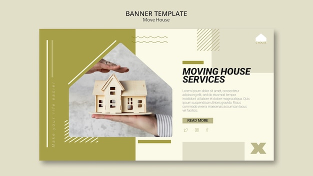 Horizontal banner template for moving house services