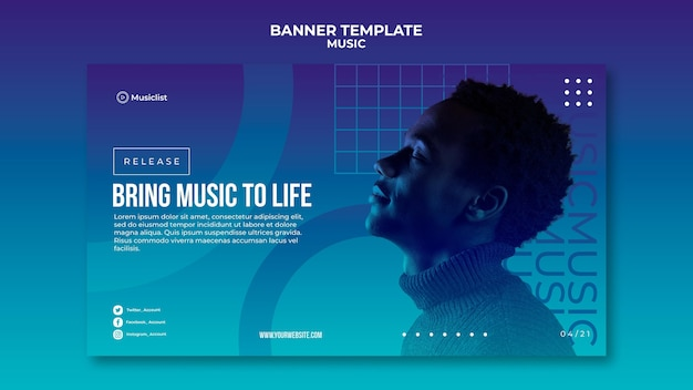 Horizontal banner template for music lovers