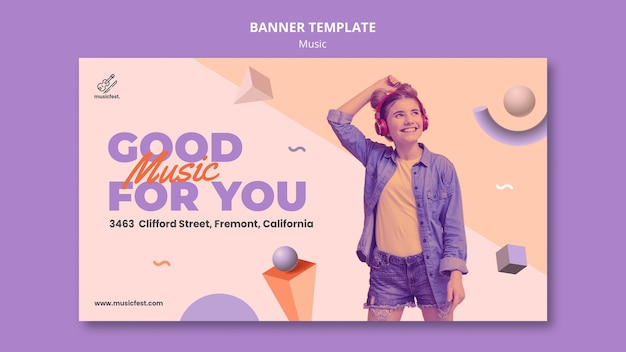 Horizontal banner template for music with woman using headphones and dancing