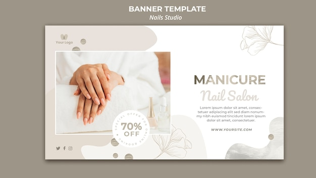 Horizontal banner template for nail salon