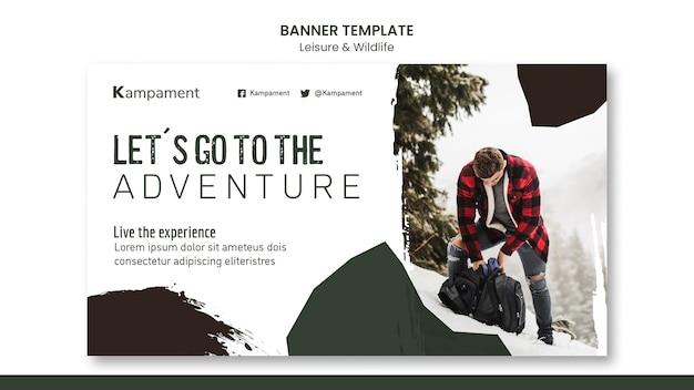 Modello di banner orizzontale per esplorazione della natura e tempo libero