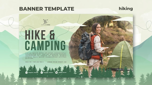 Horizontal banner template for nature hiking