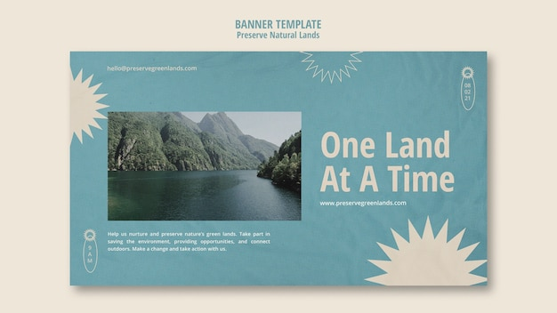 Horizontal banner template for nature preservation with landscape