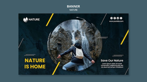 Horizontal banner template for nature protection and preservation