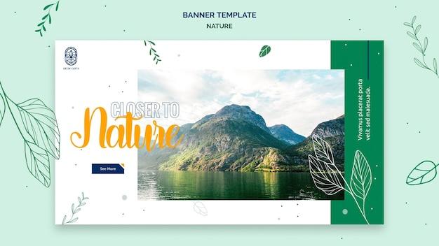 Modello di banner orizzontale per natura con paesaggio di vita selvaggia
