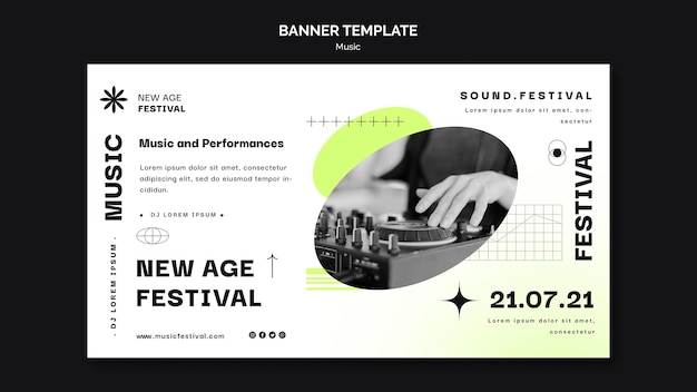 Horizontal banner template for new age music festival