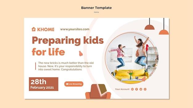 Modello di banner orizzontale per la nuova casa di famiglia