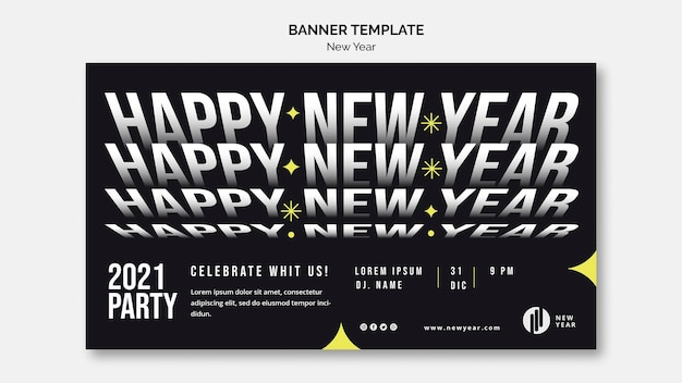 Horizontal banner template for new year party