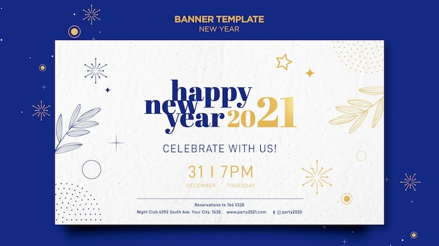 Horizontal banner template for new years party celebration