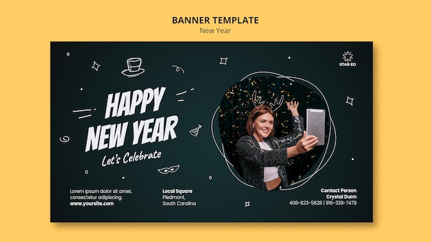 Horizontal banner template for new years party
