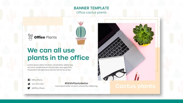 Horizontal banner template for office workspace plants