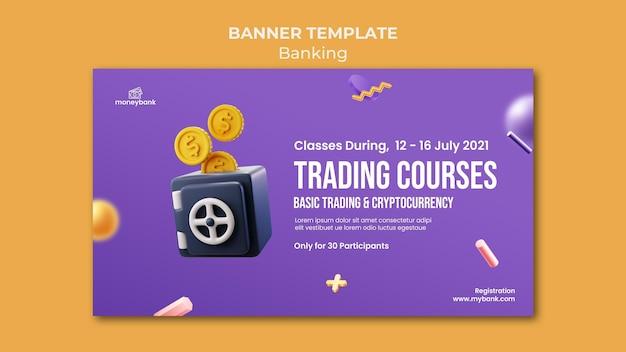 Modello di banner orizzontale per servizi bancari e finanziari online