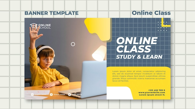 Horizontal banner template for online classes with child