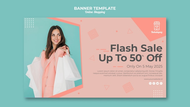 Horizontal banner template for online shopping with sale